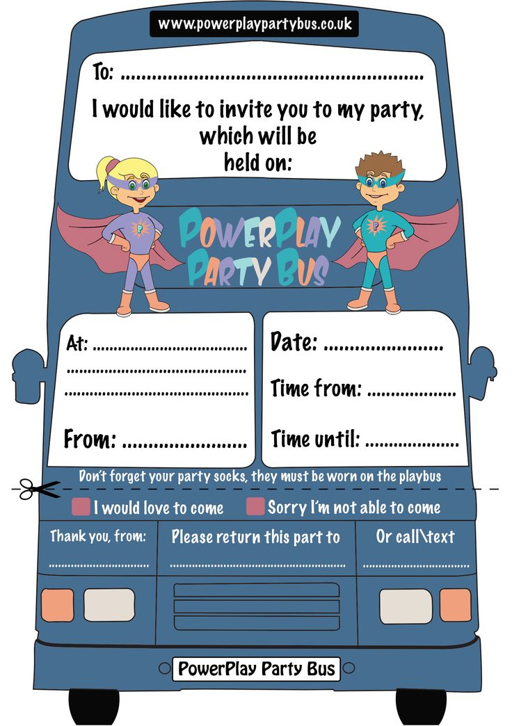 PowerPlay Party Bus has its own downloadable party invitation on the website.