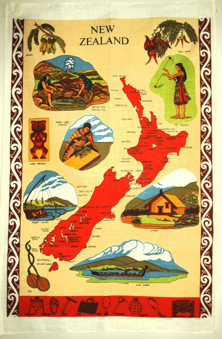 New Zealand Map Souvenir Tea Towel 70s Maori Tiki Patu