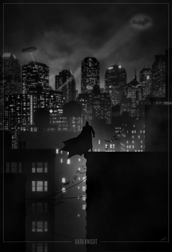 Dark Knight -   One of the most spectacular images by Marko Manev features the shadow of Batman observing Gotham City from a skyscraper. As the cityscape plays out before him, a bat signal beckons and a colony of bats ascend into the night.