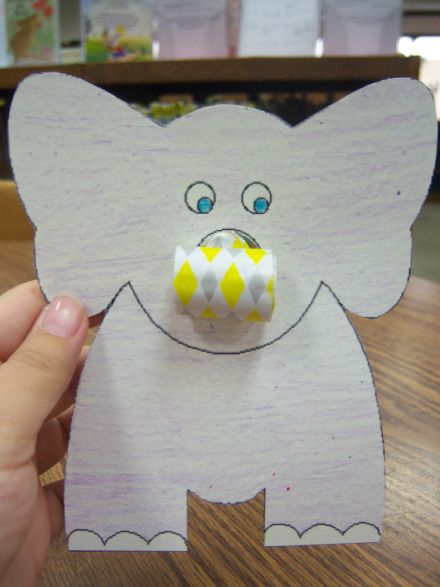 Cute elephant craft with a noisemaker for the trunk