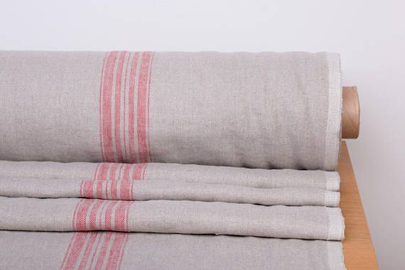 Pure 100 Linen Fabric 380gsm Natural Not Dyed Linen And Red Striped Linen Fabric Organic Softened Rustic Fabric Thick Linen Fabric Rustic Fabric Rustic Linen Linen Fabric