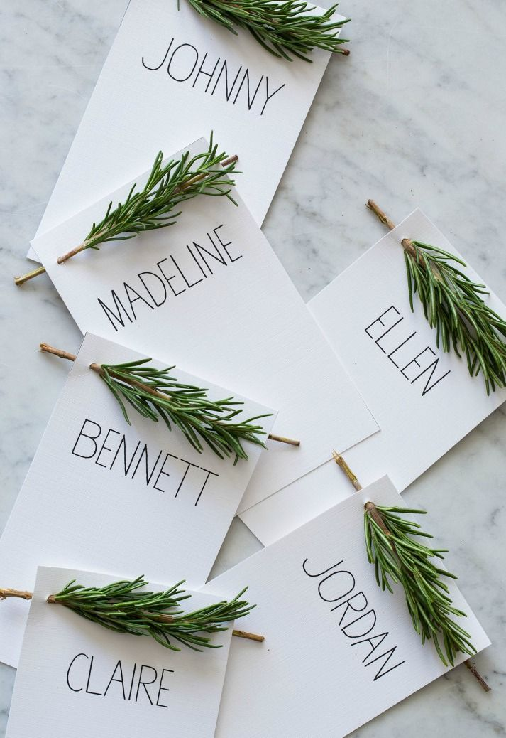 Decorate your winter wedding with nature-inspired place cards.