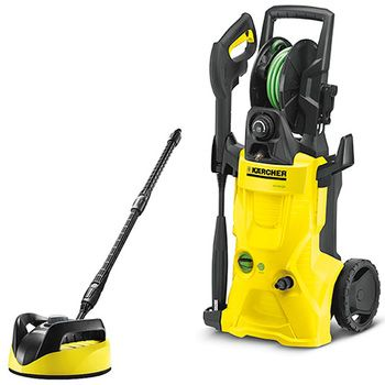 Karcher K4 pressure washer premium eco!ogic home & T250 patio cleaner come as part of a complete kit for cleaning cars, windows and patios
