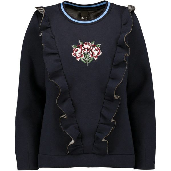 Mother of Pearl Daisy ruffled bonded cotton and modal-blend sweatshirt (€130) ❤ liked on Polyvore featuring tops, hoodies, sweatshirts, storm blue, blue ruffle top, ruffle sweatshirt, blue top, multi colored sweatshirts and frilly tops