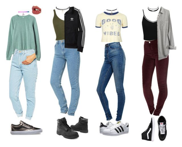 """90s Outfits"" by stellaluna899 ❤ liked on Polyvore featuring Miss Selfridge, ASOS, American Apparel, Topshop, adidas Originals, RVCA, Charlotte Tilbury, Wet Seal, Madewell and Timberland"
