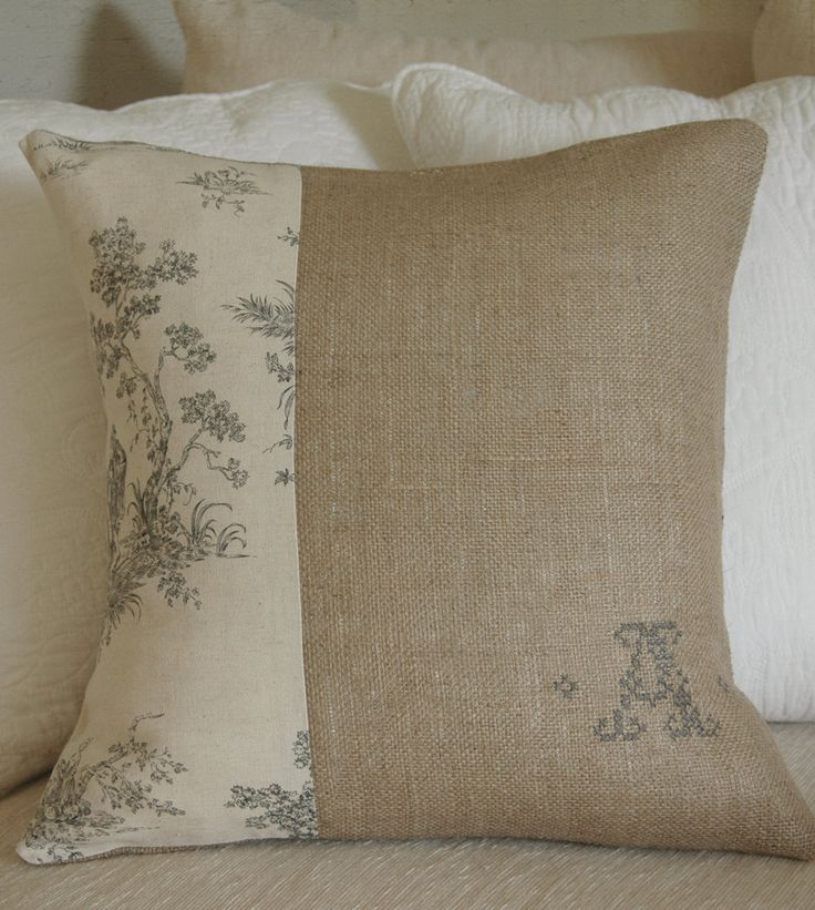 embroidered burlap & toile cover