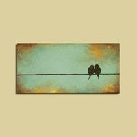 Minimal Original Painting - Signature Birds on a Wire