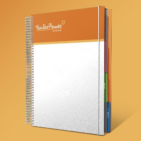Teacher Planner-Deluxe Orange Band •Daily Plans which include motivational reflections, quotes and tips. •Laminated Tabs so you can get straight to where you need to! •Divider Pockets to keep loose papers secure. •Extra marks Pages to manage achievement and attendance •Notes Pages for organising thoughts and ideas •Reinforced coil which is sturdy and dependable •Pre Hole Punched Pages great for storing used Lesson Plans at home. •Elasticated Closure Cord for  extra security.