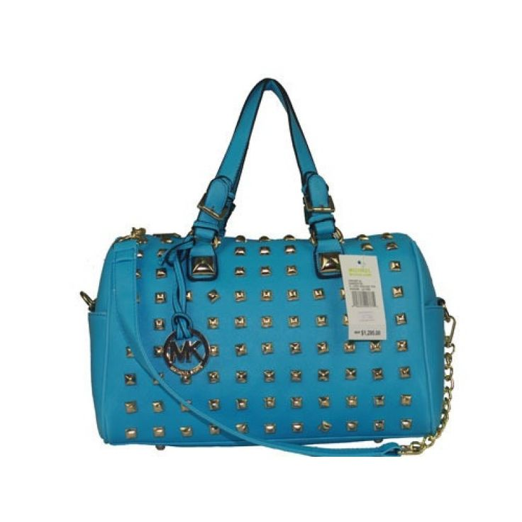 Michael Kors Large Logo Golden Pyramid Stud  Satchel in Blue