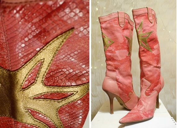 Vintage pink Genuine Snakeskin Leather by VintageVanillaShop