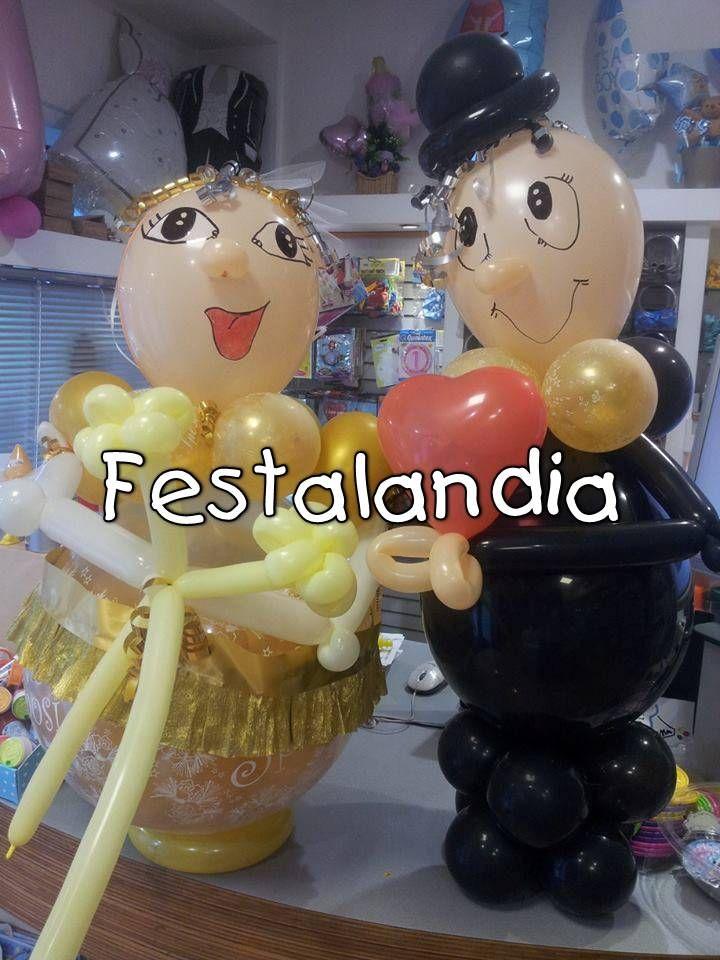 sposi nozze d oro con palloncino globo