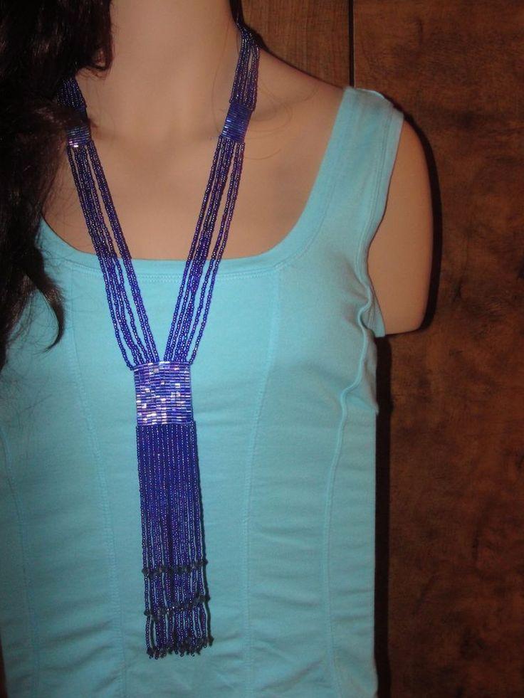 Necklace Seed-beads Flapper Fabulous Statement Indigo Blue Long
