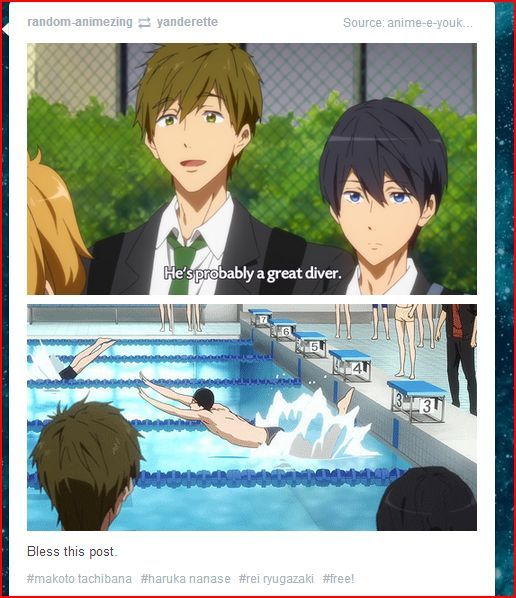 XD that was the best part of episode 3. Free! Iwatobi Swim Club