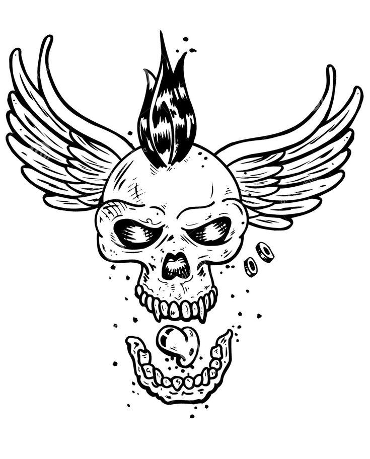 Galerie de coloriages gratuits coloriage-tatouage-crane-squelette-ailes. Un crâne de squelette doté d'ailes et d'une crête Punk ! Parfait pour un tatoo original