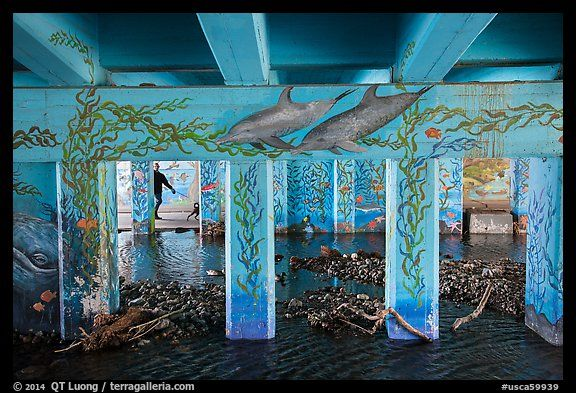 Los Angeles: Man walking dog in underpass with mural, Leo Carrillo State Park.