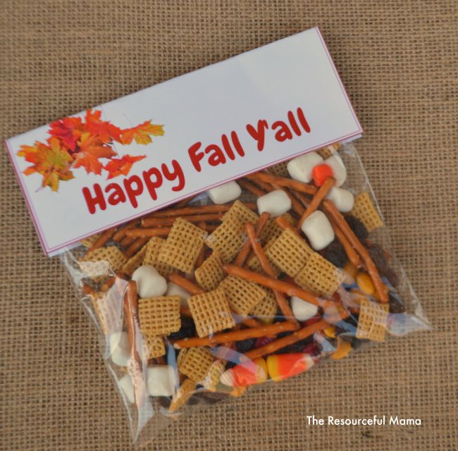 Quick and easy fall snack mix treat bags with free printable label