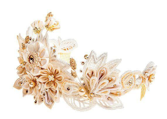 Helene Ivory & Honey Bridal Flower Crown Tiara by PetiteLumiereCo