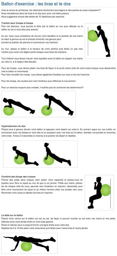 Ballon d'exercice : les bras et le dos | Exercise ball : arms and back