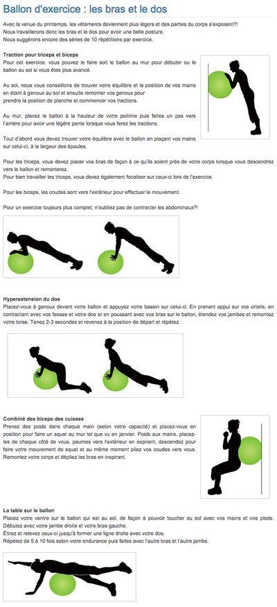 Ballon d'exercice : les bras et le dos | Exercise ball : arms and back