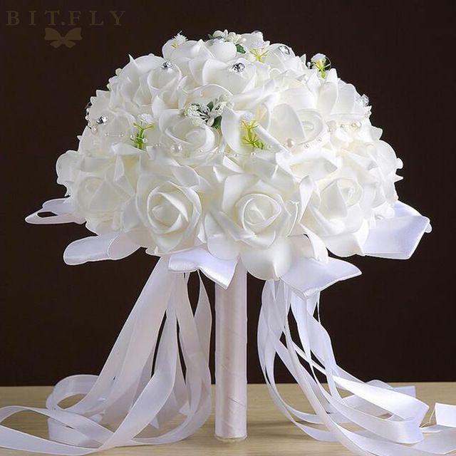 De mariée Demoiselle D'honneur Bouquet Artificielle Mousse Roses main Fleurs avec Perles Naturelles De Mariage Décoration fournitures Romantique blanc rouge