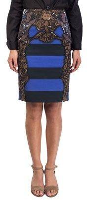 Prada Women's Cotton Striped Statue Print Skirt Blue.