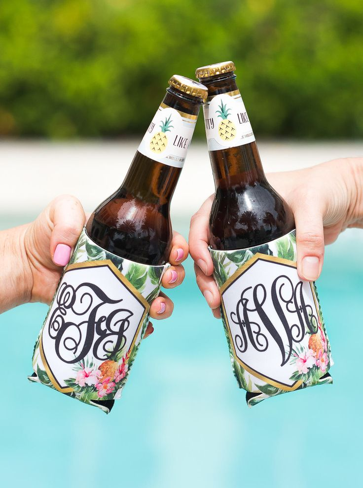 Bridal Party Gifts Party Favors Tropical Drink Insulator Coolers Monogram Birthday Bachelorette Banana Leaf Beach Pool Party (Item - KTM800) by ZCreateDesign on Etsy https://www.etsy.com/listing/535580529/bridal-party-gifts-party-favors-tropical