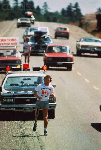 Cancer Victim Terry Fox Running on the Highway