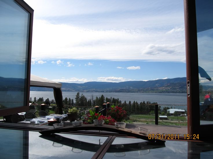 View from the tasting room at Summerhill Winery BC