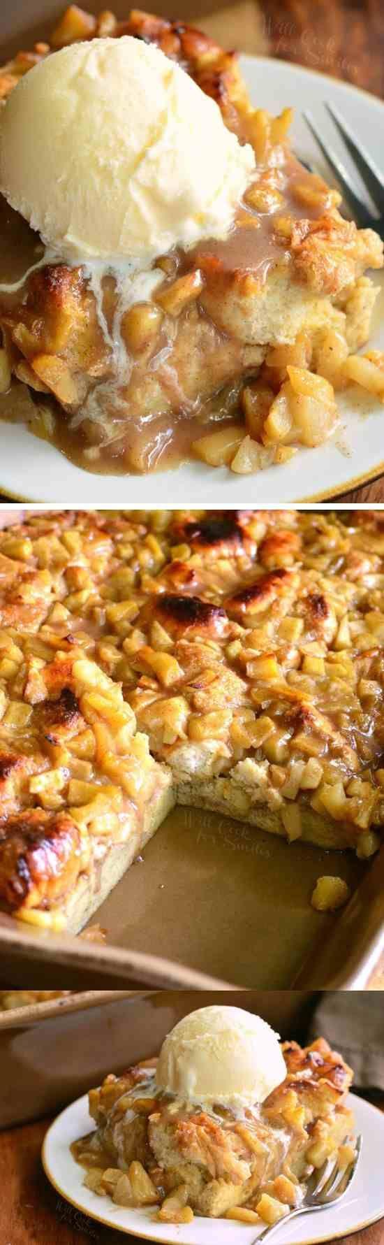 Apple Pie Bread Pudding - apple, bread, cinnamon, dessert, ice cream, pie, pudding, recipes