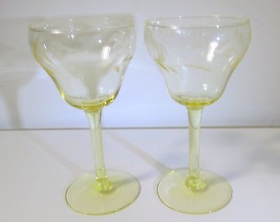 Vintage Yellow Etched Crystal Stemware - Wine Cordial Glasses - Set of 2
