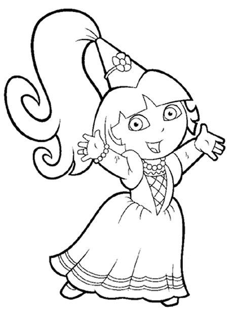 Kleurplaat Dora Als Princes