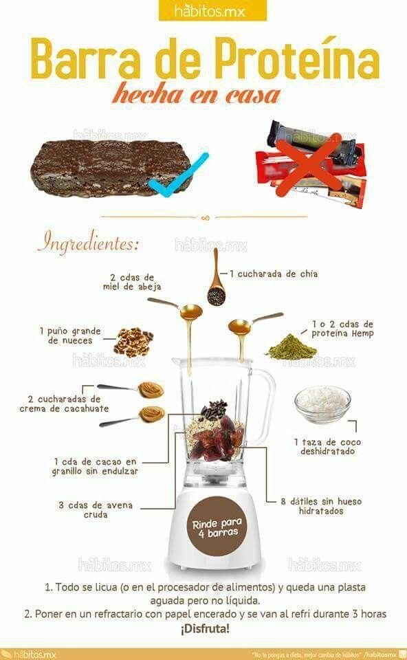 Barra de proteína  casera, by hábitos.mx