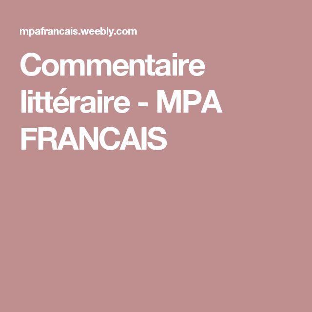 Commentaire littéraire - MPA FRANCAIS