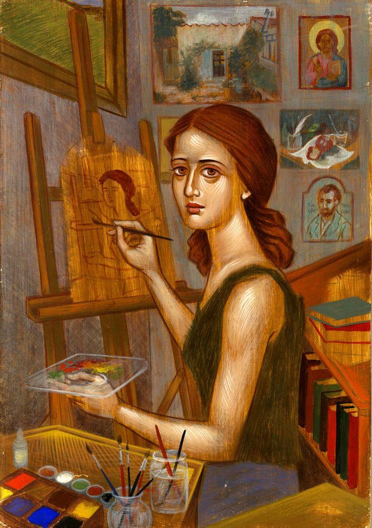 Η γυναίκα που ζωγραφίζει  (αυγοτέμπερα) 1999 Άννα Κανατά