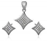 SE1308ZSS Štvorčeky - strieborný set so zirkónmi #supersperky #krasnesperky #sperky #luxusnesperky #striebornyset #nausnice #privesok #striebro #zirkony #luxuryjewelry #luxus #silverset #earrings #pendant