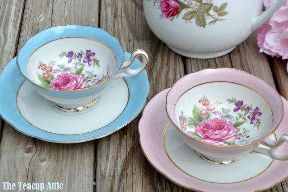 RESERVED Princess Pastel Set of 2 Teacup and by TheTeacupAttic