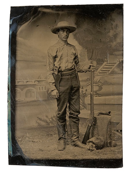 Tintype of a Cowboy Armed with M 1873 Winchester Rifle