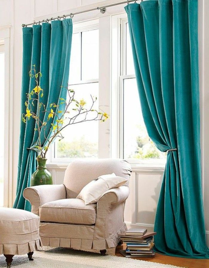Les 25 meilleures id es concernant rideau turquoise sur for Decoration fenetre avec rideau