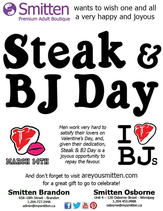 what day is steak and bj day BJ day March 14 humor.