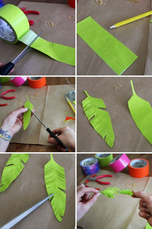 Duct tape feathers :: tutorial showing how to make them into earrings, but it would be fun to use for kids' dress up and pretend play