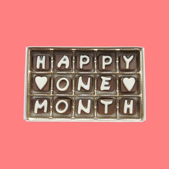 Happy One Month Cubic Chocolate Letters