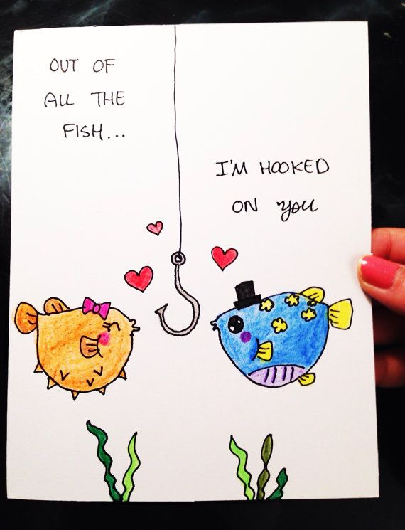 Anniversary Card Anniversary Card For Boyfriend Anniversary Card For Husband Funny Love Card Cute Love Card Fish Card Hooked On You