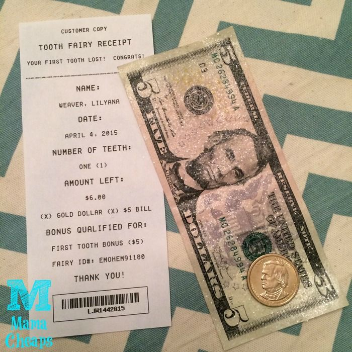 tooth fairy receipt glitter money