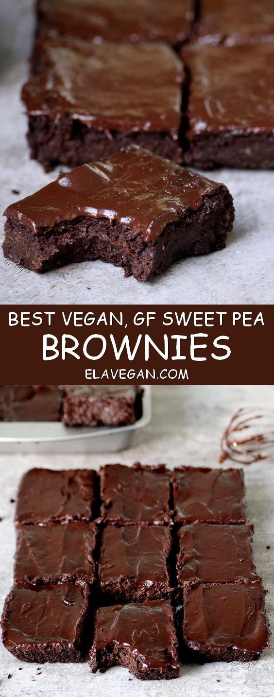 Best vegan brownies with a secret ingredient (peas!!!). These fudgy brownies are gluten free, grain free, egg free, chocolatey, moist, low in fat, easy to make & so delicious!