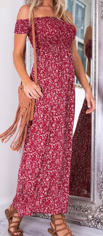 Side Split Off the shoulders maxi dress. Beautiful color print for feminine bohemian style. Material: Cotton/Poly Blend