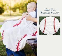 It's baseball season! Great baby shower gift idea: Baseball Baby Blanket, $39.95 (http://northwestgifts.com/products/Baseball-Baby-Blanket.html)