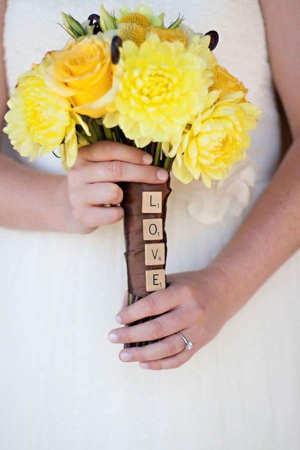 Scrabble letters on a bouquet.: Yellow Flowers, Yellow Wedding, Wedding Bouquets, Cute Ideas, Wedding Flowers, Bouquets Wraps, Scrabble Tile, Flowers Ideas, Scrabble Letters