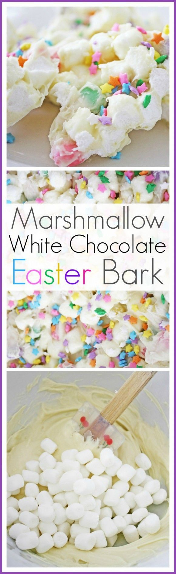 Marshmallow White Chocolate Bark Recipe. This will work great at your Easter brunch or on a spring dessert table. Also, easy to give out as a party favor, just wrap it up cute! See more party ideas at http://catchmyparty.com