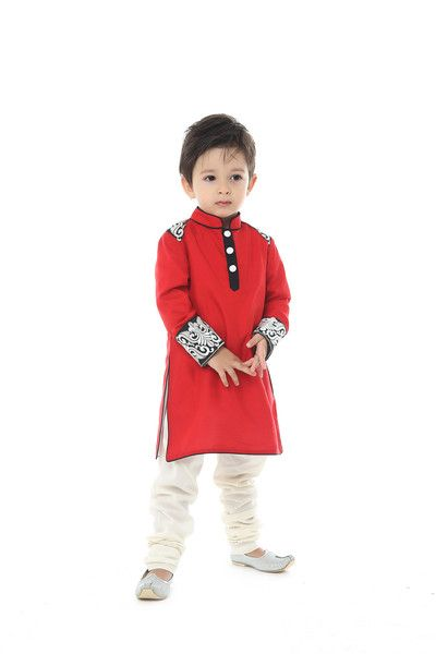 Cotton silk kurta with lace patch and cotton pajama