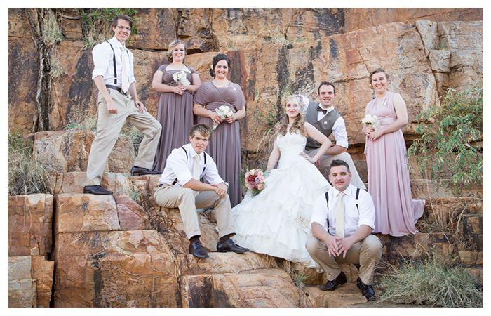 bride goom bridesmaids and groomsmen at makinky manzi